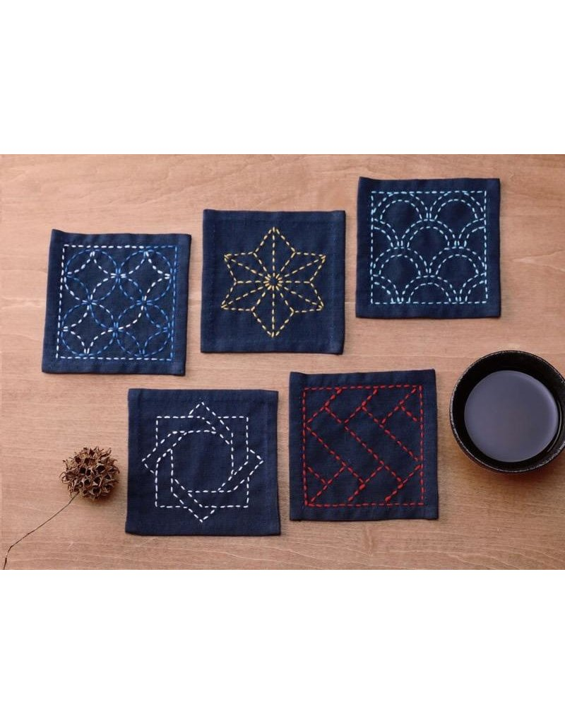 Olympus Sashiko Coaster Collection, Navy Blue dyed cloth made of 100% Cotton.