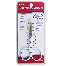 Embroidery Scissors with Leather Sheath, Assorted Polka Dot Colors