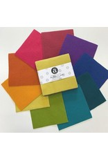 """Andover Fabrics WoolWerks II: Jewels, Pre-Felted 100% Wool, charm pack of 10 ea. 5""""x5"""" pieces"""