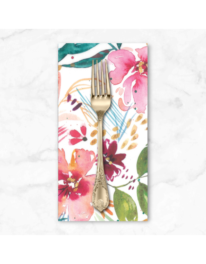 PD's Moda Collection Brightly Blooming, Flower Party in White, Dinner Napkin