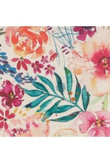 Moda Linen Cotton Canvas, Brightly Blooming in Natural, Fabric Half-Yards 8430 11L