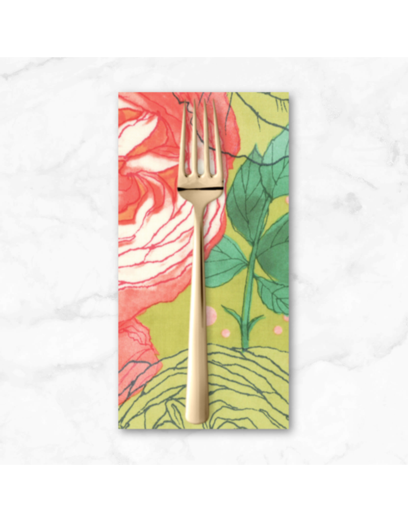 PD's Moda Collection Abby Rose, Cabbage Rose in Greenery, Dinner Napkin