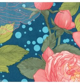 "Moda Abby Rose, Cabbage Rose in Night, Fabric Half-Yards 48670 16 (ONE 16"" PIECE REMAINING)"