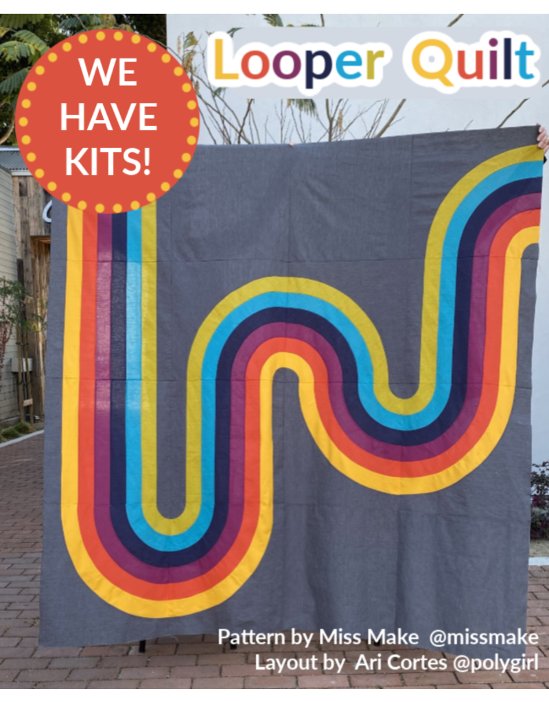 "SOLD OUT-Looper Quilt Kit - Fabric and layout notes to recreate the 80""x80"" quilt top created by Ari Cortes @polygirl"