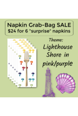 Picking Daisies Purple Lighthouse/Pink Shells Themed Grab-Bag Dinner Napkin Set of 6