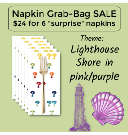 Picking Daisies Purple Lighthouse/Pink Shells Themed Grab-Bag Dinner Napkin Set of 6