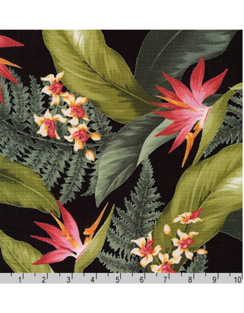 Sevenberry Barkcloth, Island Paradise, Bird of Paradise in Black, Fabric Half-Yards SB-4145D3-4