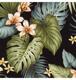 Sevenberry Barkcloth, Island Paradise, Orchids in Black, Fabric Half-Yards SB-4145D1-4