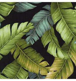 Sevenberry Barkcloth, Island Paradise, Palm Leaves in Black, Fabric Half-Yards SB-4145D2-5