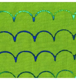 Alison Glass Stitched Handcrafted, Scallop in Turtle, Fabric Half-Yards AB-9042-G