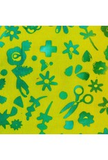 Alison Glass Stitched Handcrafted, Floral in Lichen, Fabric Half-Yards AB-9045-Y