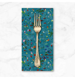 PD's Michael Miller Collection Eat, Sleep, Garden, Rose Buds in Teal, Dinner Napkin