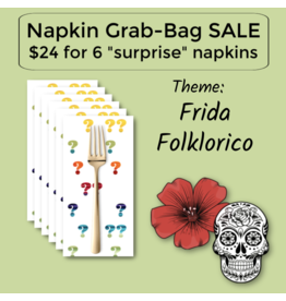 Picking Daisies Frida Folklorico Themed Grab-Bag Dinner Napkin Set of 6