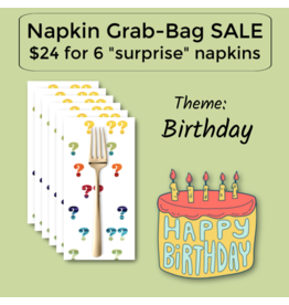 Picking Daisies Birthday Themed Grab-Bag Dinner Napkin Set of 6