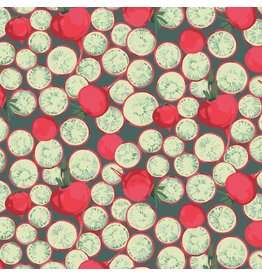 Martha Negley Veggies, Radish Coins in Dark, Fabric Half-Yards  PWMN005