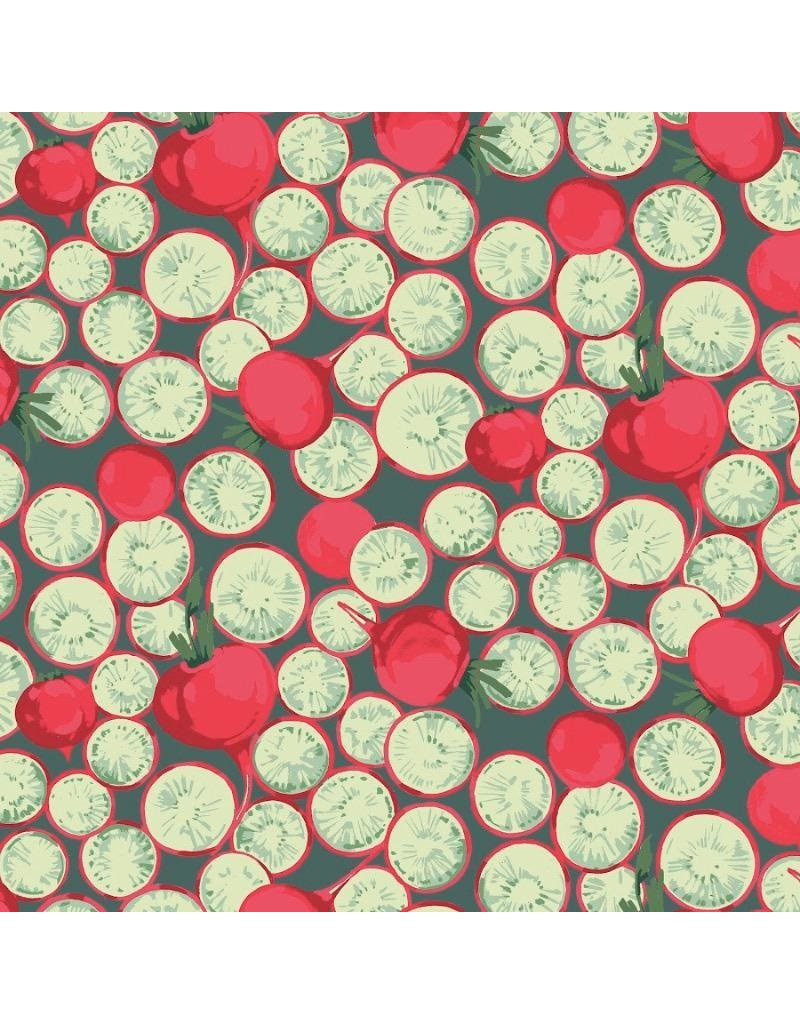 Martha Negley Veggies, Radish Coins in Dark, Fabric Half-Yards  PWMN005