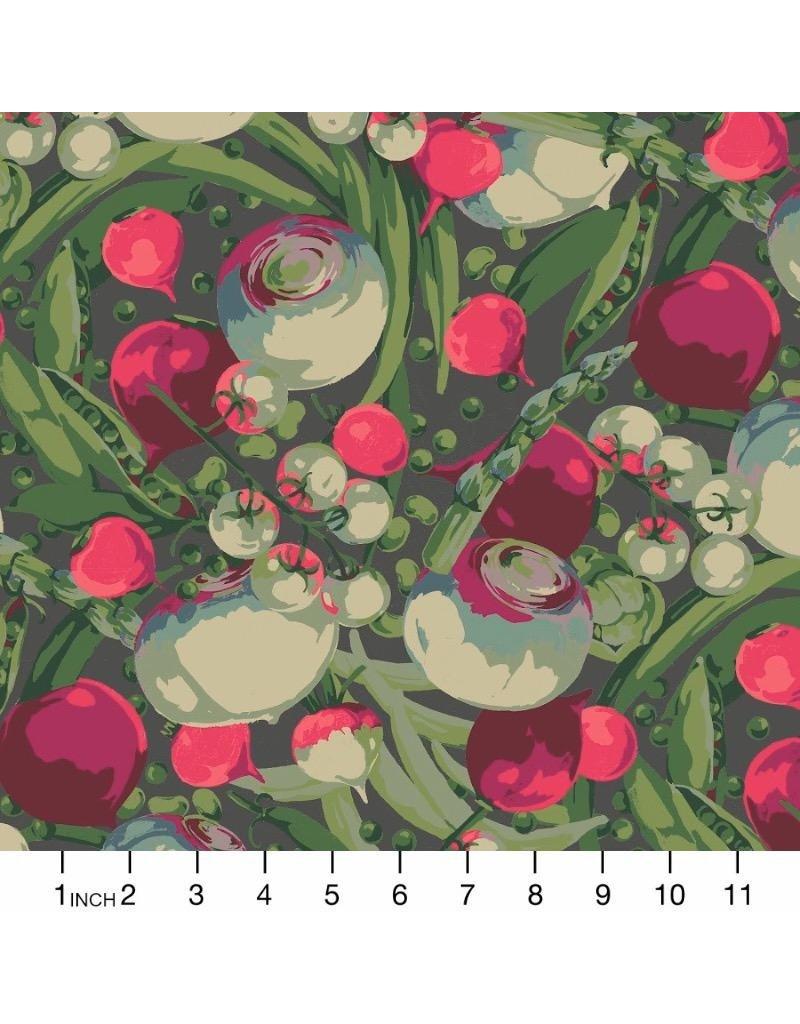 Martha Negley Veggies, Mixed Vegetables in Dark, Fabric Half-Yards  PWMN001