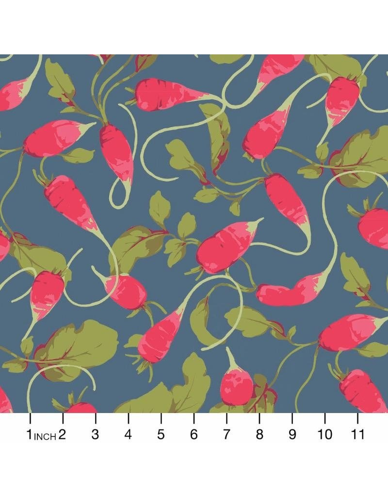 Martha Negley Veggies, Radishes in Dark, Fabric Half-Yards  PWMN004