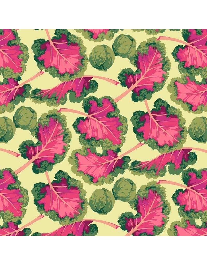 Martha Negley Veggies, Kale in Bright, Fabric Half-Yards  PWMN007