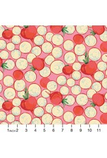 Martha Negley Veggies, Radish Coins in Bright, Fabric Half-Yards  PWMN005