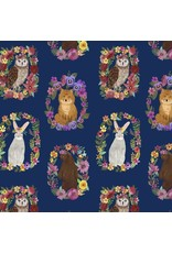 Mia Charro Forest Friends, Wood Rings in Navy, Fabric Half-Yards 129.104.05.2