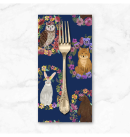 PD's Mia Charro Collection Forest Friends, Wood Rings in Navy, Dinner Napkin