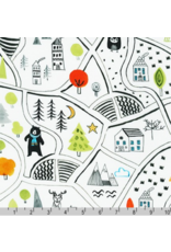 Robert Kaufman Neighborhood Pals, Neighborhood in White, Fabric Half-Yards ADYD-19651-1