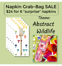 Picking Daisies Abstract Wildlife Themed Grab-Bag Dinner Napkin Set of 6