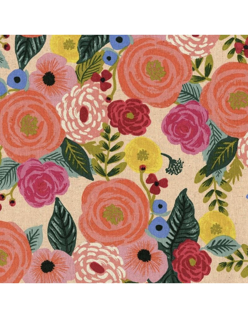 Rifle Paper Co. Linen/Cotton Canvas, English Garden, Juliet Rose in Cream, Fabric Half-Yards AB8066-012