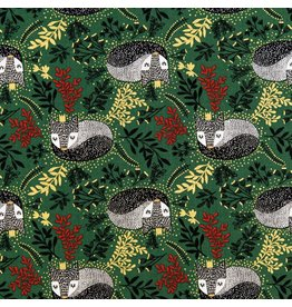 RJR Fabrics Winter Dreams, Royal Fox in Holly with Gold Metallic, Fabric Half-Yards JM101-HO3M