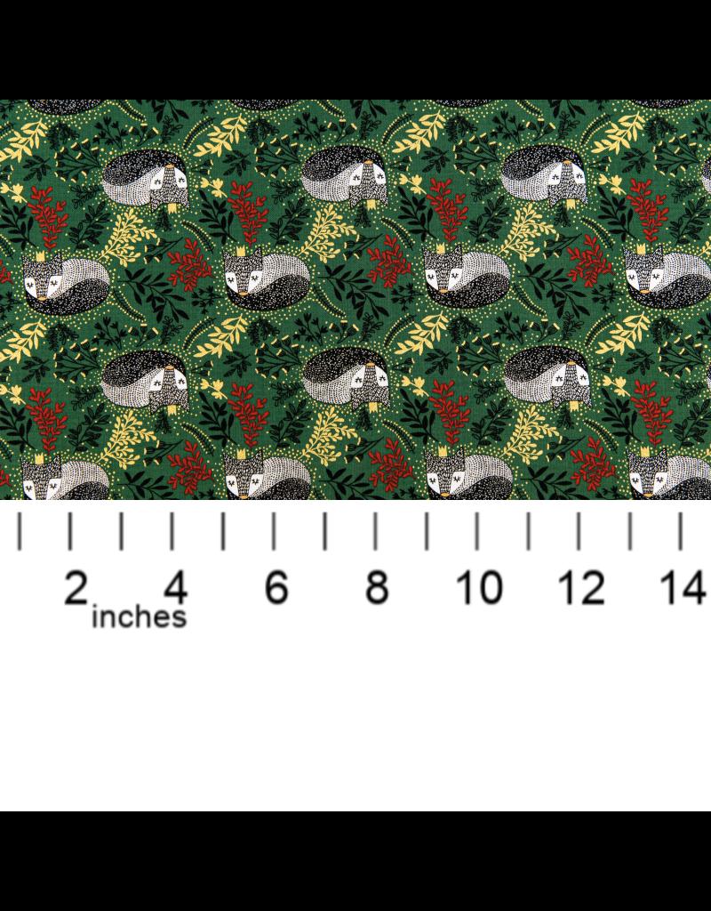 RJR Fabrics Winter Dreams, Royal Fox in Holly with Gold Metallic, Fabric Half-Yards JM101-HO3M