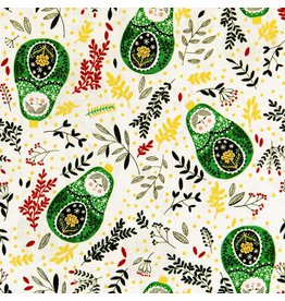 RJR Fabrics Winter Dreams, Babushka Dolls in Holly with Gold Metallic, Fabric Half-Yards JM102-HO3M
