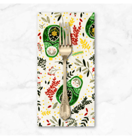 Christmas Collection Winter Dreams, Babushka Dolls in Holly with Gold Metallic, Dinner Napkin