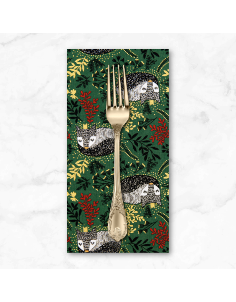 Christmas Collection Winter Dreams, Royal Fox in Holly with Gold Metallic, Dinner Napkin