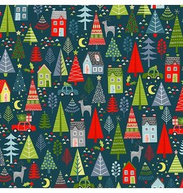 Andover Fabrics Joy, Trees in Spruce Blue, Fabric Half-Yards TP-2233-B