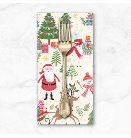 Christmas Collection Let it Snow, Santa Scenic in Cream, Dinner Napkin