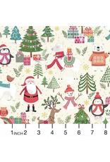 Christmas Collection Let it Snow, Santa Scenic in Cream, Dinner Napkin