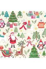 Andover Fabrics Let it Snow, Santa Scenic in Cream, Fabric Half-Yards TP-2236-1