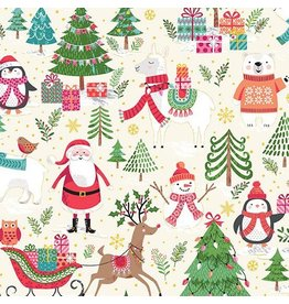Andover Fabrics Let it Snow, Santa Scenic in Cream, Fabric Half-Yards TP-2236-1