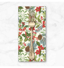 Christmas Collection Yuletide, Foliage in Cream, Dinner Napkin