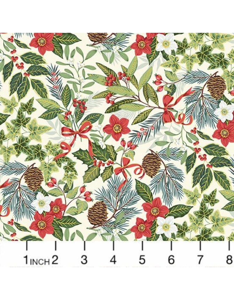 Andover Fabrics Yuletide, Foliage in Cream, Fabric Half-Yards TP-2242-Q