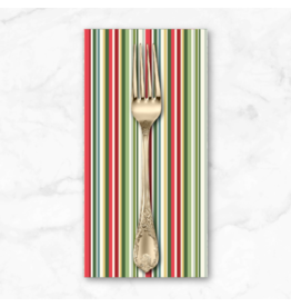 Christmas Collection Yuletide, Straight Stripe in Multi, Dinner Napkin