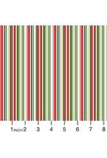 Christmas Collection Yuletide, Straight Stripe in Multi, Dinner Napkin
