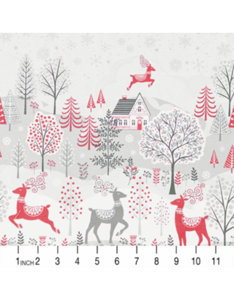 Andover Fabrics Scandi 2020, Double Border in Red and Grey, Fabric Half-Yards TP-2224-1