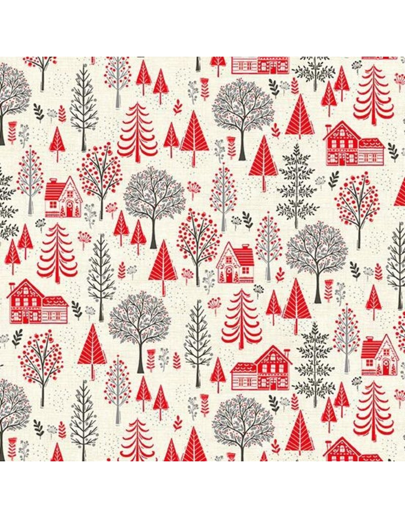 Andover Fabrics Scandi 2020, Trees in Red, Fabric Half-Yards TP-2218-R