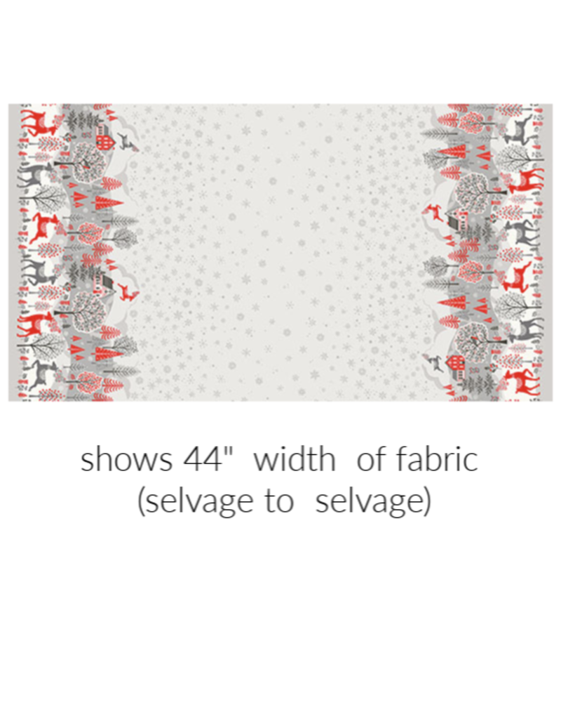 Christmas Collection Scandi 2020, Double Border in Red and Grey, Dinner Napkin