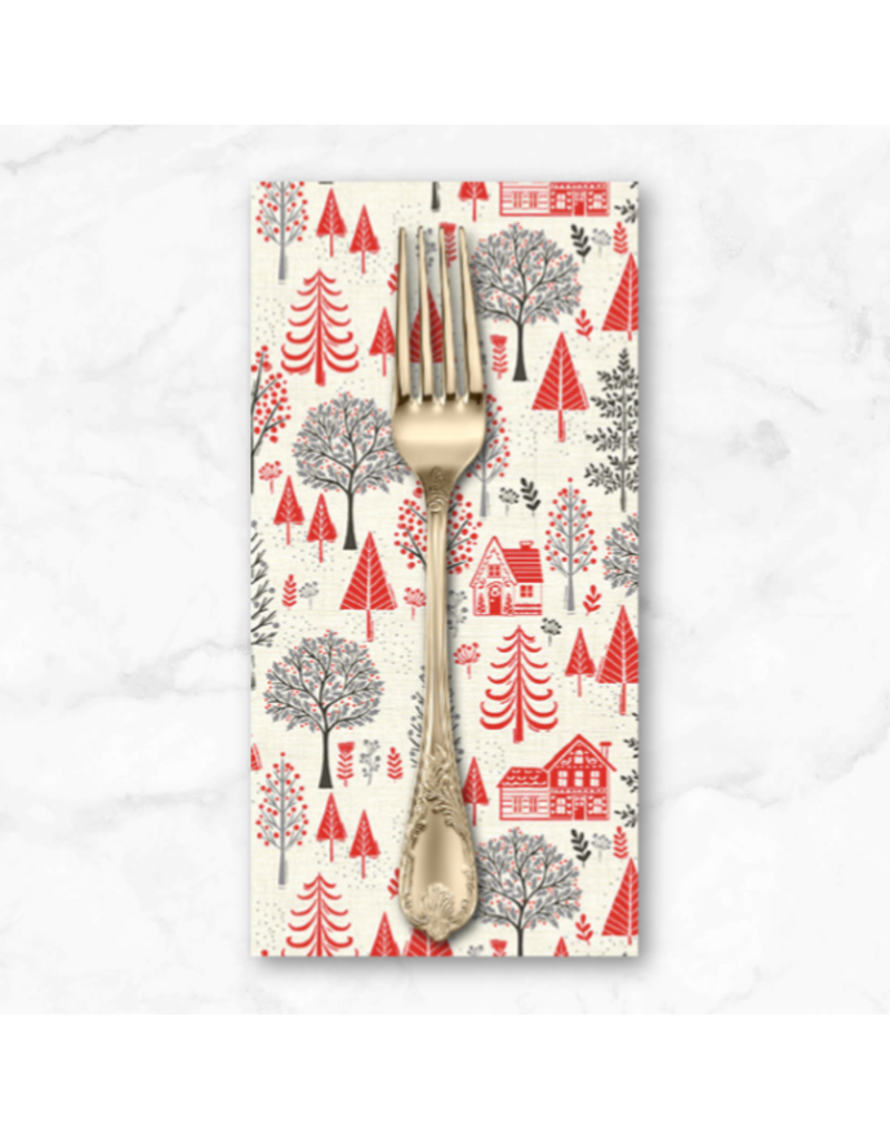 Christmas Collection Scandi 2020, Trees in Red, Dinner Napkin