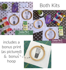 Picking Daisies BOTH Cactus No.1 and No.2, Mini Embroidery Kits with bonus printed cloth and hoop