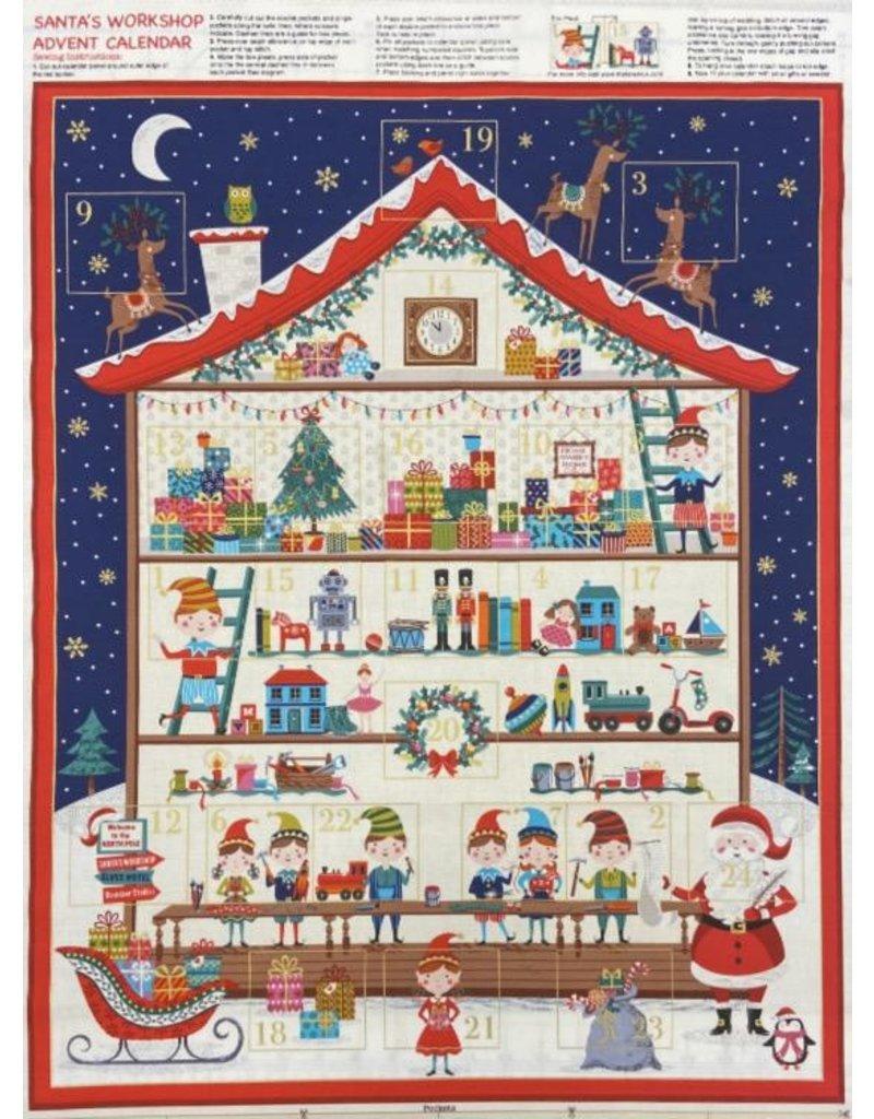 "Andover Fabrics Let it Snow, Santa's Workshop Advent Calendar Panel,  , 24"" x 42""  TP-2227-1"