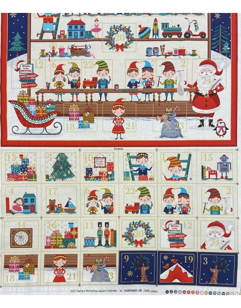 "Andover Fabrics Let it Snow, Santa's Workshop Advent Calendar Panel,  , 24"" x 42""  TP-2227-1"
